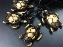 FREE SHIPPING 12 PCS Cool Embossed Longevity Symbol Turtle Bone Powder Fashion Characters Necklace Unisex Biker