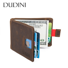 [DUDINI] Brand New Anti-Theft Brush Credit Card Genuine Leather Wallet Card Case Pocket Card Holder Men's Slim Wallet 5 Colours(China)