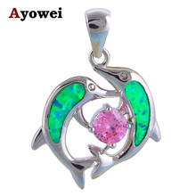 Two Dolphins design Wholesale & Retail Green Fire Opal stamp Silver Necklace Pendants Fashion jewelry OP495A(China)