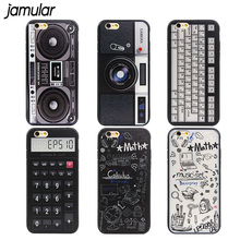 JAMULAR Vintage Funny Calculator Camera Phone Case For iphone X 8 Plus 6 6s Plus Back Cover Case For iphone 8 7 6 6s Capa