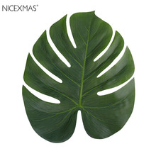 12pcs NEW 35x29cm Artificial Tropical Palm Leaves Simulation Leaf For Hawaiian Luau Party Jungle Beach Theme Party Decorations(China)