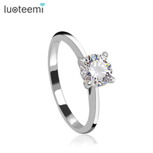 LUOTEEMI Predestined Dream Classic 4 Claw Engagement Sterling Silver Ring 6mm Bright Clear Cubic Zirconia S925 Women Jewelry(China)