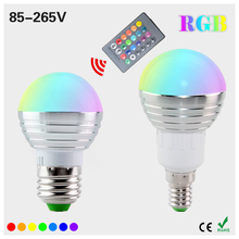 1Pcs AC85V-265V E27 E14 dimmer LED RGB Bulb Candle lamp 5W LED RGB Spot light magic Holiday lighting+IR Remote Control 16 colors