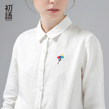 Globo bordado toyouth camisas 2017 primavera nuevas mujeres camisa ocasional gira el collar abajo blusas blancas