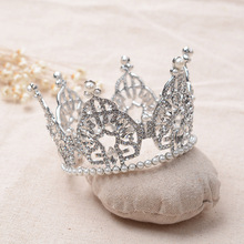 Europe Bridal Small Round Tiara baroque crystal pearl Crown silver clear  Hair ornaments For brides wedding hair accessories