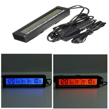 12V/24V 3 in1 Digital LCD Clock In/Out Car Thermometer Battery Voltage Monitor(China)