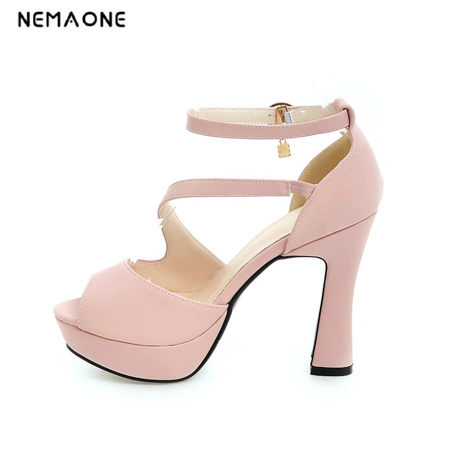 NEMAONE woman sandals 2017 summer new style shoes fashion high heels string bead white pink black solid pumps casual sandal<br>