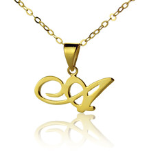 Freeshipping  Personalized Madonna Style Name Necklace Custom Gold Color over Silver One Letter Necklace