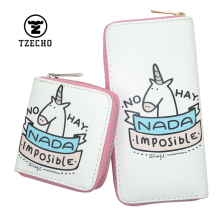 TZECHO Zipper Wallet For Women With Phone PU Cartoon Unicorn Clutch Purses Small Rfid  Cards Holder Long Ladies Mini Wallets