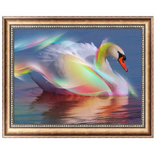 Swan 5D Diamond Embroidery Painting Cross Stitch DIY Craft Mosaic Home Decor 40*30cm-Y102(China)