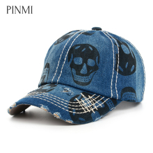PINMI Skull Printing Baseball Cap Women Men Cowboy Snapback Cap Unisex Fashion Graffiti Rap Dad Hat Hip Hop Bone 4 Colors