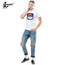 Pokemon Go! 2017 Pokeball Printed Man's T-shirt Summer Fashion Cotton Anime Fitness Brand Clothing Slim Cool Plus Size Tops H954 - Lei-SAGLY Store store