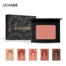 UCANBE 5 Color Silky Mineral Shadow Blush Palette Matte Shimmery Pressed Powder Makeup Contour Natural Tones Glow Health Blusher(China)
