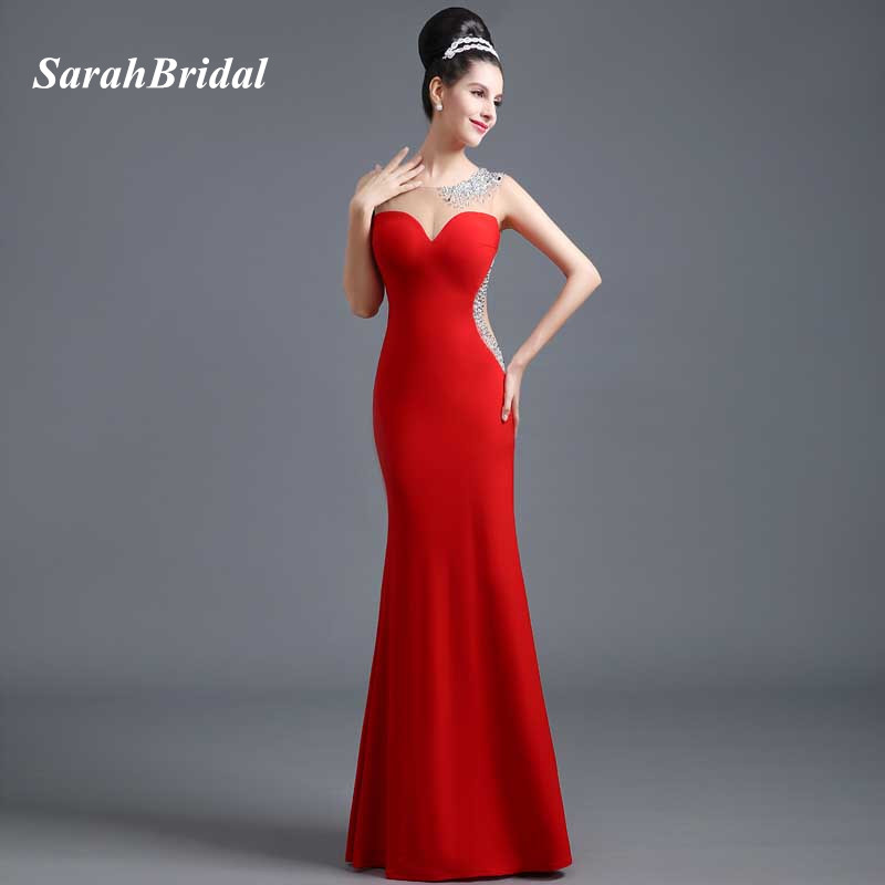 Sarahbridal Red Satin Mermaid Evening Dresses Beading Floor-Length 2017  Sexy Illusion Back Prom Gowns 4e770609a471