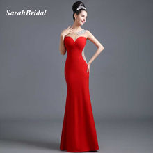 Sarahbridal Red Satin Mermaid Evening Dresses Beading Floor-Length 2017  Sexy Illusion Back Prom Gowns vestidos de noche SD308 74a22c92c990