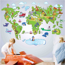 [Fundecor Monopoly] new removable cartoon animal park map wall stickers nursery children's room wall decor stickers decals 5345(China)