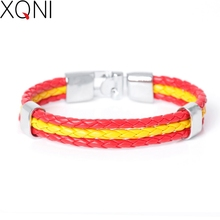 2017 New Fashion National Spain Flag ID Leather Bracelet Trendy Braided Surfer Bandage Charm Sporty Bracelets For Men Women(China)