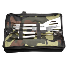 Behokic Portable Outdoor Stainless Steel Barbecue Shovel Fork Clip BBQ Grill Utensil Baking Cooking Tool Set with Storage Bag
