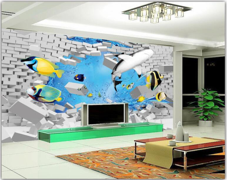 3d room wallpaper custom photo non-woven mural modern sea shark fish decoration painting 3d wall mural wallpaper for walls 3d<br>