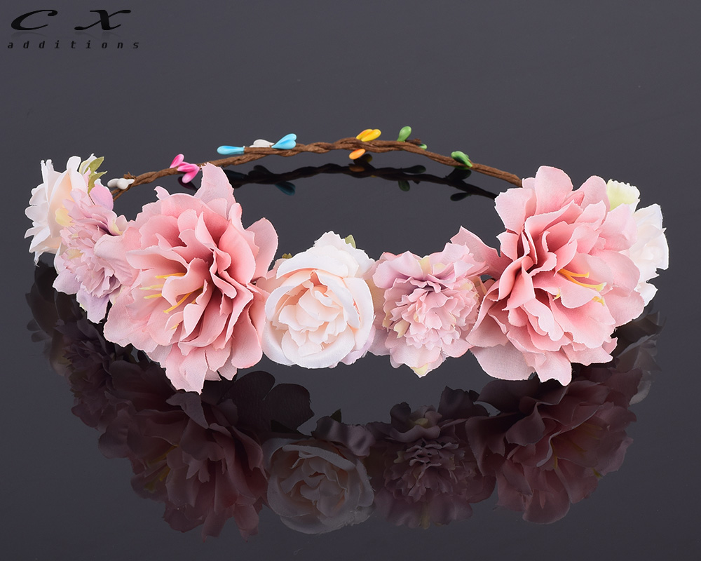 CXADDITIONS Rose Carnations Peony Flower Halo Bridal Floral Crown Hair Band Wreath Mint Head Wreath Wedding Headpiece Bridesmaid(China (Mainland))