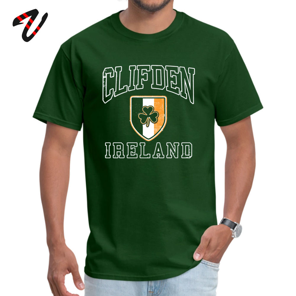 Short Sleeve Tops T Shirt O Neck 100% Cotton Men's Top T-shirts Clifden Ireland with Shamrock Normal Tops & Tees Slim Fit Clifden Ireland with Shamrock 2176 dark
