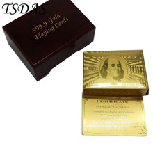Gold Playing Poker Cards Table Games With US 100 Dollar Special Gift Promotional 24k Gold Cards With Wooden Box(China)