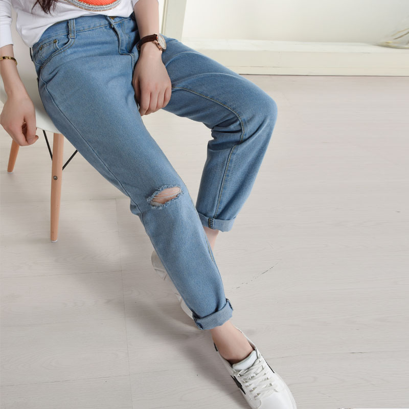 Women Sexy Hole Denim Skinny Pants High Waist Cut-Out Ripped Jeans Stretch Pants Feet Blue Jeans Harem Pants Loose TrousersОдежда и ак�е��уары<br><br><br>Aliexpress