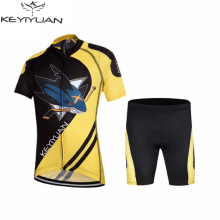 KEYIYUAN Ropa Ciclismo Team Children's Cycling Jersey Kit Bike and Shorts Set Kids Bicycle Clothing Shark