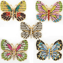 Retail! Mixed Colorful Crystals Cute Butterfly Brooch Exquisite Enamelled Butterfly Brooch Pins Luxury Oilled Butterfly Pins