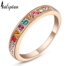 Iutopian Brand Ring For Woman With Austrian Crystal Stellux 18KGP Rose #RG91645(China)
