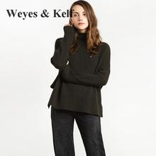 Weyes & Kelf Punk Personality Design Turtleneck Sweater Women Female Fashion Sexy Loose Long Sleeve Olive Green Sweater(China)