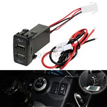 12V 2.1A Car Auto Dual USB Port Charger Adapter PDA DVR Audio Input for Toyota VIGO Mobile Phone Dashboard Mount CaR Accessories(China)