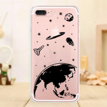 I Need My Space Planet Rocket Outer Space Transparent Soft Silicone Case Cover for iPhone 7 7Plus 6S 6s Plus 5S SE Coque Funda