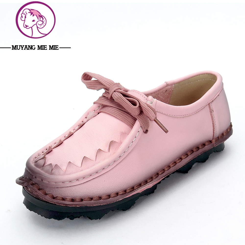 Woman Genuine Leather Shoes Round Toe Lace-Up Soft Skin Women Shoes Solid Flats Loafers Woman Fashion Slipony Single Shoes<br>