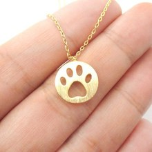 Daisies 1pc Dog Paw Necklace Print Dye Cut Coin Shaped Animal Charm Pendant in Gold Long Necklace for women girls Nice Jewelry