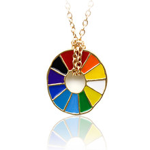 Bring Colorful Flair to u Ensemble Rainbow Necklace Rotate Color Wheel Pendant Choker Valentine Gift BFF Unisex Trendy Necklace