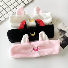 Cartoon cute cat ear moon embroidery hair trim hair and headband headscarf accessories It makes people look young and energetic(China)