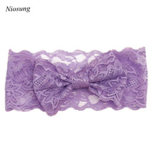 Niosung New Fashion 1PC Girls Lace Big Bow Hair Band Baby Head Wrap Band Accessories Perfect Gift For Baby