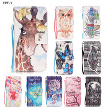 TIPFLY 3D Owl Cherry Design Flip BookStyle PU Leather Wallet Cover [Wrist Strap Card holder] for Samsung Galaxy S4 S5 S6 S7 Edge