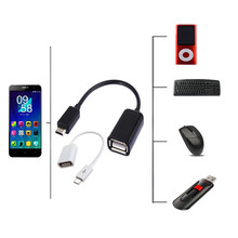 10pcs/lot Black/ white Micro USB Host Cable Male to USB Female OTG Adapter Android Tablet PC and Phone