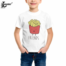 Hot Selling Best Friends Girls Boys Kids T-shirts Children Summer Twins Funny Hipster Tshirt Kawaii 100% Cotton White Tops EH704(China)