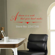 Inspirational Quotes Wall Stickers A Dream Is A Wish That You Heart Makes Words Lettering Vinyl Decals for Home Office Decor