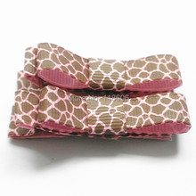 200pcs/lot Giraffe Tuxedo Bows Animal Print Giraffe Clips Pink and Brown Free Shipping(China)