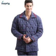 2017 New Winter Men's Pajamas Three Thicker 100%Cotton Long Sleeves Increase The Code Cotton Men's Pajamas Suit QW007(China)