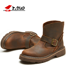 Z.Suo 2017 Best Quality Genuine Leather Men Boots Buckle Strap Fashion Ridding Ankle Cowboy Boots ZS1308