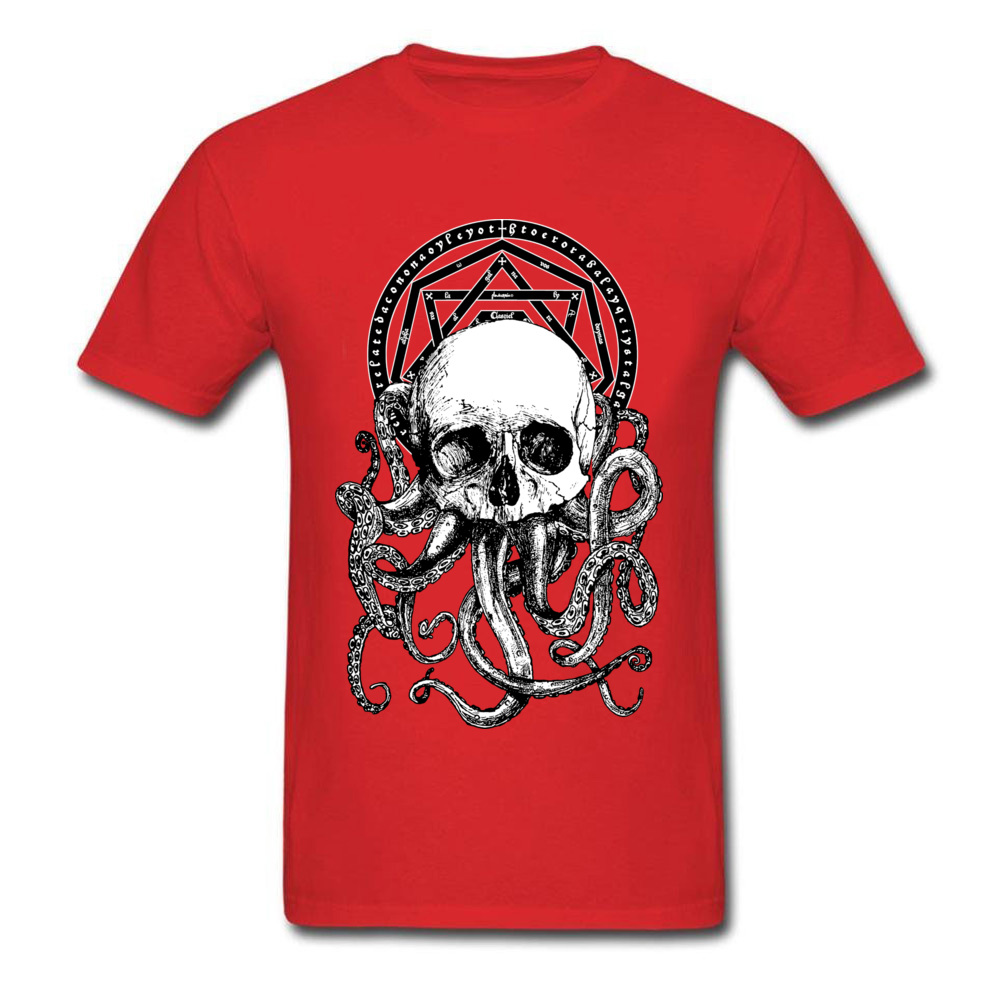 Pieces of Cthulhu Family Adult T Shirt O Neck Short Sleeve Pure Cotton Tops Shirts Geek T Shirt Wholesale Pieces of Cthulhu red