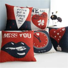 Nordic  Red & Black Proverbs heart love theme cotton cushion  pillow  for car office home Decor sofa cushions 1PCS