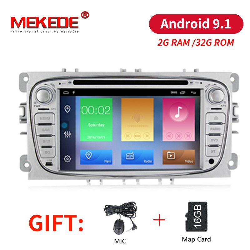 Car Multimedia player Android 9.1 GPS navigation audio 2 Din For FORD/Focus/Mondeo/S-MAX/C-MAX/Galaxy RAM 2G ram 32G rom Radio