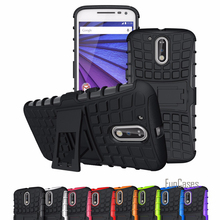 Case For Motorola Moto G G2 G3 G4 Plus Case Hybrid Kickstand Rugged Rubber Armor Hard PC+TPU With Stand Function Cover(China)