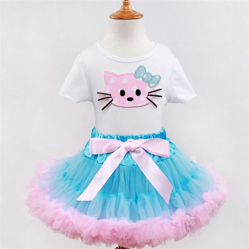2015 Summer Style Girl Pettiskirt Hello Kitty Cartoon KT Fluffy Tutu Dress with Ribbon Bows Lovely Childrens Clothing 2PCS Set<br><br>Aliexpress